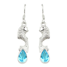 Clearance Sale- Natural blue topaz pear 925 sterling silver fish earrings jewelry d20395
