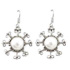 Clearance Sale- Natural white pearl 925 sterling silver dangle earrings jewelry d20492