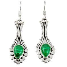 Natural green malachite (pilot's stone) 925 silver dangle earrings d20503