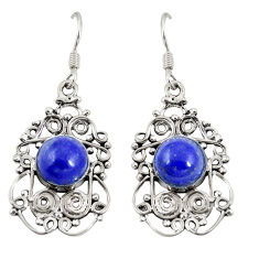 Clearance Sale- Natural blue lapis lazuli 925 sterling silver dangle earrings d20505
