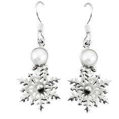 Clearance Sale- Natural white pearl 925 sterling silver dangle earrings jewelry d20510