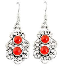 Clearance Sale- Natural orange cornelian (carnelian) 925 silver dangle earrings d20511