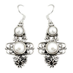 Clearance Sale- Natural white pearl 925 sterling silver dangle earrings jewelry d20512