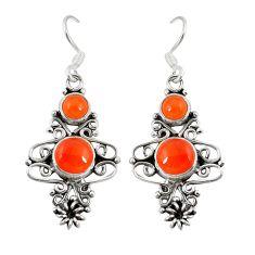 Clearance Sale- Natural orange cornelian (carnelian) 925 silver dangle earrings d20513