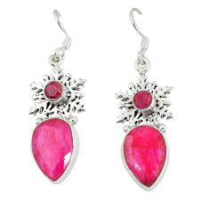 Natural red ruby 925 sterling silver dangle earrings jewelry d20514