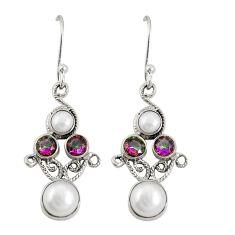 925 silver multi color rainbow topaz pearl dangle earrings jewelry d20516