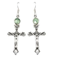 Natural green amethyst 925 sterling silver holy cross earrings jewelry d20519