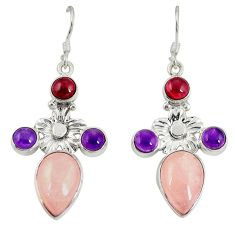 Clearance Sale- 925 silver natural pink morganite amethyst dangle earrings jewelry d20520