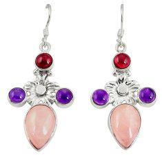 925 silver natural pink morganite amethyst dangle earrings jewelry d20520