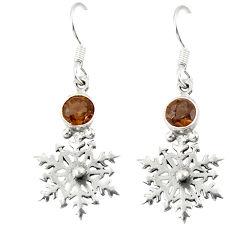 Clearance Sale- Brown smoky topaz 925 sterling silver dangle earrings jewelry d20556