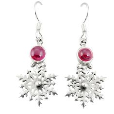 Clearance Sale- Natural red garnet 925 sterling silver dangle earrings jewelry d20557