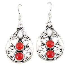 Clearance Sale- Natural orange cornelian (carnelian) 925 silver dangle earrings d20570