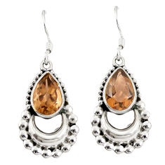 Brown smoky topaz 925 sterling silver dangle earrings jewelry d20571