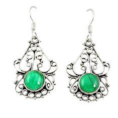 Clearance Sale- Natural green malachite (pilot's stone) 925 silver dangle earrings d20580