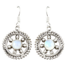 Clearance Sale- Natural rainbow moonstone 925 sterling silver dangle earrings d20581