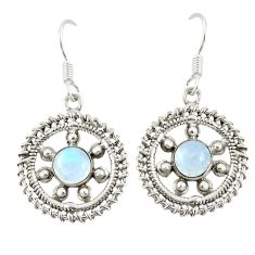 Clearance Sale- Natural rainbow moonstone 925 sterling silver dangle earrings d20588