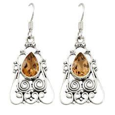 Clearance Sale- Brown smoky topaz 925 sterling silver dangle earrings jewelry d20589