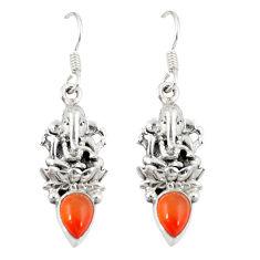 Clearance Sale- Natural orange cornelian (carnelian) 925 silver dangle earrings d20595