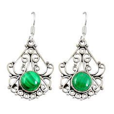 Natural green malachite (pilot's stone) 925 silver dangle earrings d20613