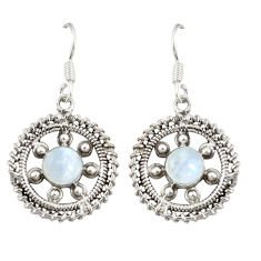 Clearance Sale- Natural rainbow moonstone 925 sterling silver dangle earrings jewelry d20618