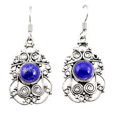 Clearance Sale- Natural blue lapis lazuli 925 sterling silver dangle earrings d20842