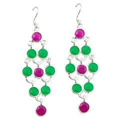 Clearance Sale- Red ruby emerald quartz 925 sterling silver dangle earrings d2104