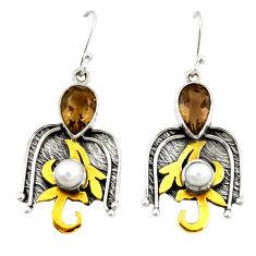 Clearance Sale- 925 silver brown smoky topaz pearl two tone dangle earrings jewelry d21994