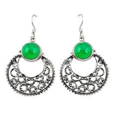Natural green chalcedony 925 sterling silver dangle earrings d22022
