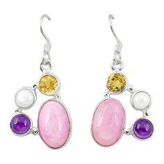 Natural pink kunzite citrine pearl 925 sterling silver dangle earrings d22049
