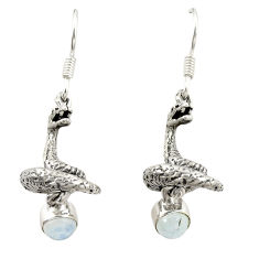 Natural rainbow moonstone 925 sterling silver snake earrings jewelry d22133