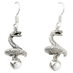 Clearance Sale- 925 sterling silver natural white pearl snake earrings jewelry d22140