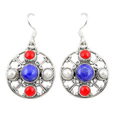 Clearance Sale- 925 silver natural blue lapis lazuli coral pearl dangle earrings d22149