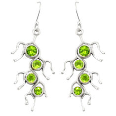 Clearance Sale- Natural green peridot 925 sterling silver dangle earrings jewelry d22170