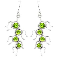 Natural green peridot 925 sterling silver dangle earrings jewelry d22171