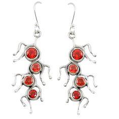 Natural red garnet 925 sterling silver dangle earrings jewelry d22175