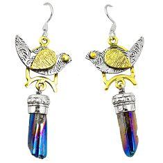 Titanium aura quartz (arkansas) 925 silver two tone dangle earrings d22182