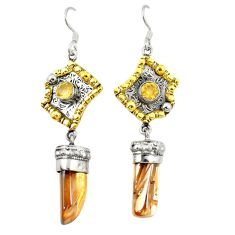 Golden aura quartz (arkansas) 925 silver two tone dangle earrings d22199