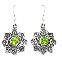 Natural green peridot 925 sterling silver dangle earrings jewelry d23012