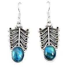 Natural blue labradorite 925 sterling silver dangle earrings jewelry d23023