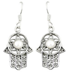 Clearance Sale- Natural white pearl 925 sterling silver hand of god hamsa earrings d23025