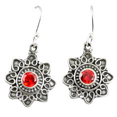 Clearance Sale- 925 sterling silver natural red garnet dangle earrings jewelry d23034