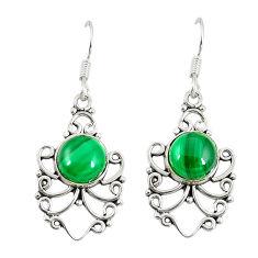 Natural green malachite (pilot's stone) 925 silver dangle earrings d23047