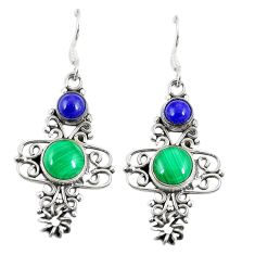 Natural green malachite (pilot's stone) 925 silver dangle earrings d23062