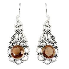 Brown smoky topaz 925 sterling silver dangle earrings jewelry d23068