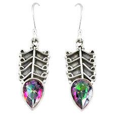 Multi color rainbow topaz 925 sterling silver dangle earrings d23087