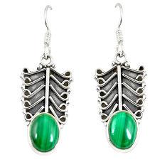 Natural green malachite (pilot's stone) 925 silver dangle earrings d23097