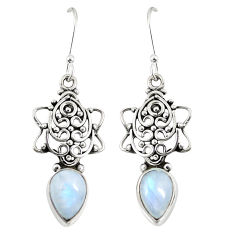 Clearance Sale- Natural rainbow moonstone 925 sterling silver dangle earrings d23101