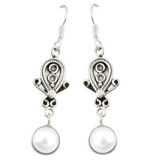 Clearance Sale- Natural white pearl 925 sterling silver dangle earrings jewelry d23115