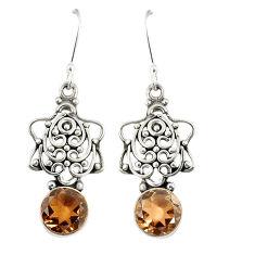 Brown smoky topaz 925 sterling silver dangle earrings jewelry d23120