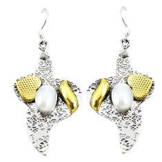 Clearance Sale- l white pearl 925 silver two tone dangle earrings d2322